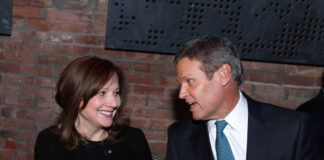 DETROIT, MI -Mary Barra, General Motors Chairman and CEO, speaks with Tennessee Gov. Bill Lee, at the reveal of the General Motors Cadillac XT6 three-row crossover SUV at the Garden Theater on January 13, 2019 in Detroit, Michigan. (Photo by Bill Pugliano/Getty Images)