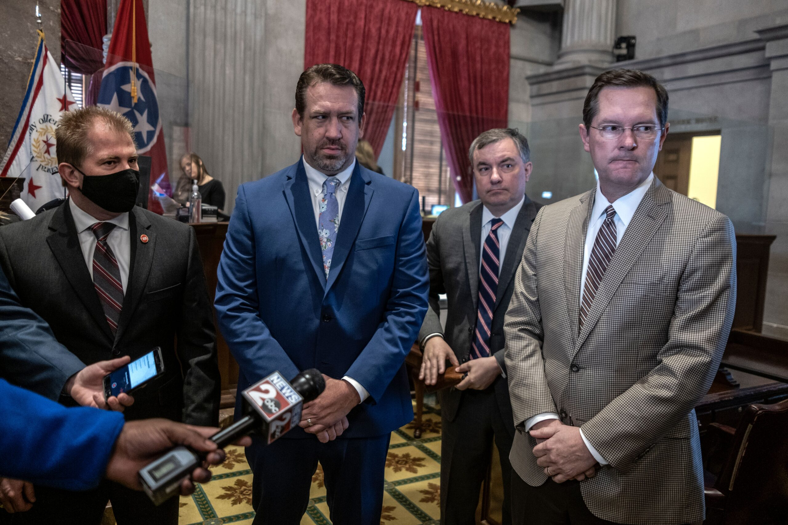 House Republican Caucus leadership, from left: House Majority Leader William Lamberth, Caucus Chair Jeremy Faison, Assistant Majority Leader Ron Gant, and Speaker of the House Cameron Sexton. (Photo: John Partipilo)