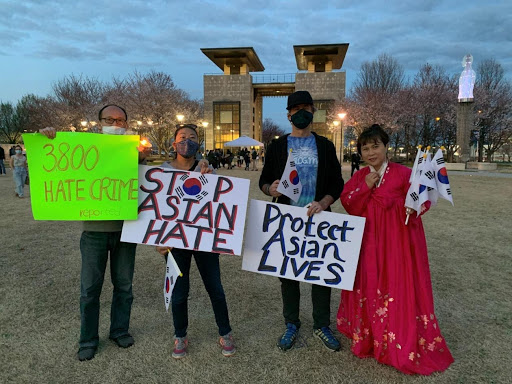 Rebecca Shin, far left, in traditional Korean dress, at a March 21 vigil in Nashville for victims killed in an Atlanta attack that targeted Asian women. (Photo: Submitted)