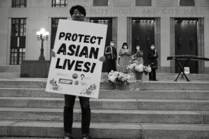 A March 21 vigil on the Courthouse steps in Nashville to honor victims of an anti-Asian shooting. (Photo: John Partipilo)