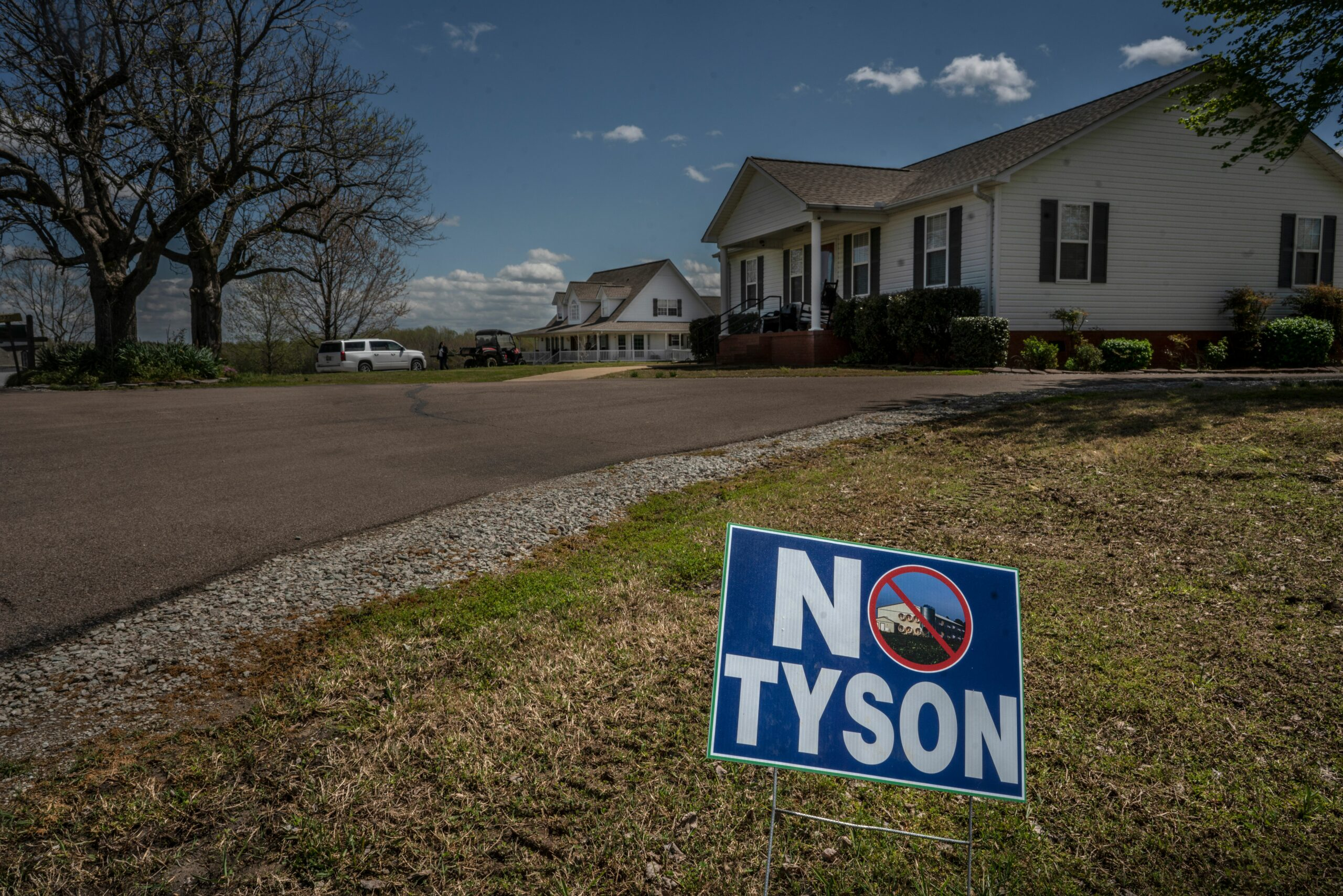 A 'No Tyson' sign is on the street when Taylor and other farmers live who are leery of Tyson. (Photo: John Partipilo)