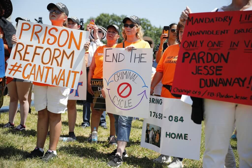 Protesters hold signs during a rally calling for criminal justice reform outside the U.S. Capitol July 10, 2018 in Washington, DC. (Aaron P. Bernstein, Getty Images)