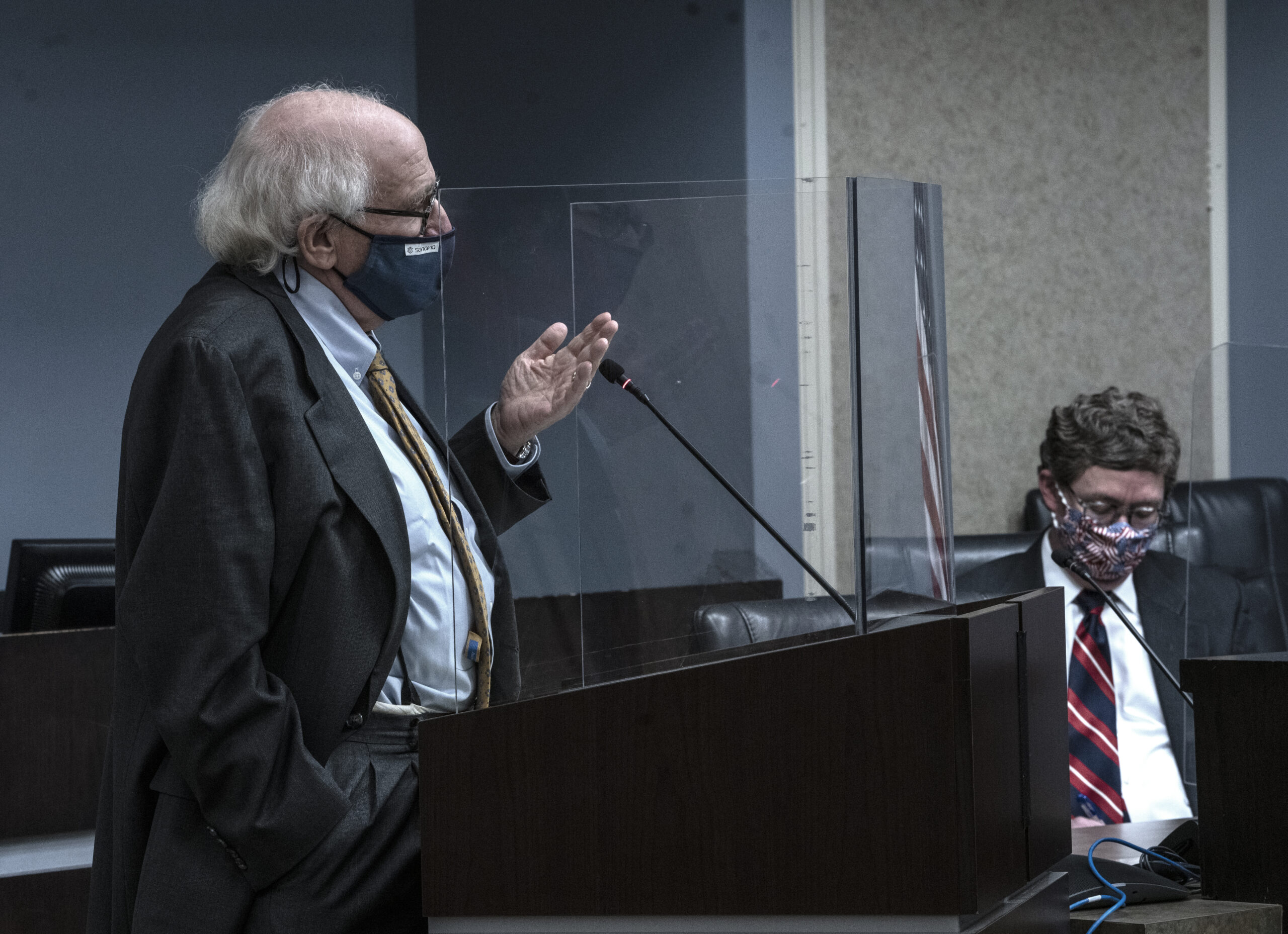 Attorney James Blumstein provides legal advice to the Davidson County Election Commission at its meeting on Monday, May 10 in Nashville. (Photo by John Partipilo.)
