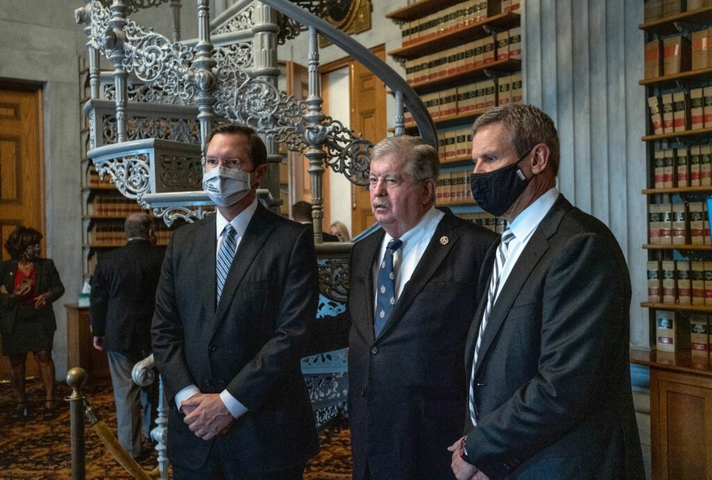 Speaker of the Tennessee House Cameron Sexton, Lt. Gov. Randy McNally, and Gov. Bill Lee in the legislative library Wednesday. (Photo: John Partipilo)
