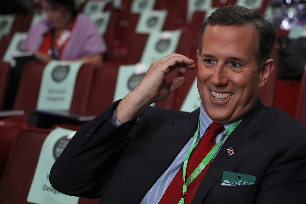 Former US Senator Rick Santorum photographed at the 2016 Democratic National Convention at the Wells Fargo Center in Philadelphia, Pennsylvania. (Photo by Joe Raedle/Getty Images)