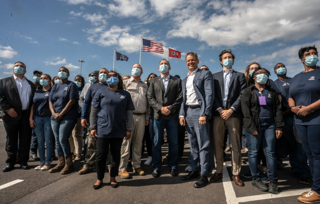 Gov Bill Lee dedicates a Tyson plant in Humbolt, Tennessee with plant workers in April. (Photo: John Partipilo)