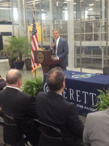 Gov. Bill Lee speaks to the crowd at the Gallatin Beretta USA plant. (Photo: Sam Stockard)