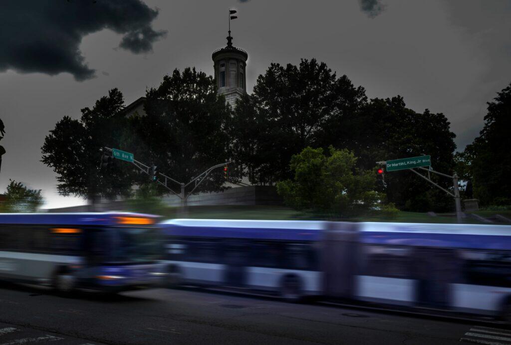WeGo buses on Charlotte Avenue. (Photo: John Partipilo)