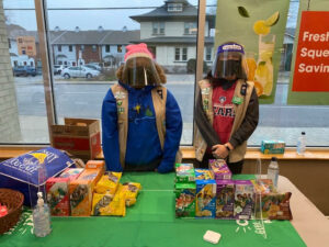"""Middle Tennessee Girl Scouts in their """"storm trooper"""" gear, peddling cookies at Nashville location. (Photo: Tracy Rokas)"""
