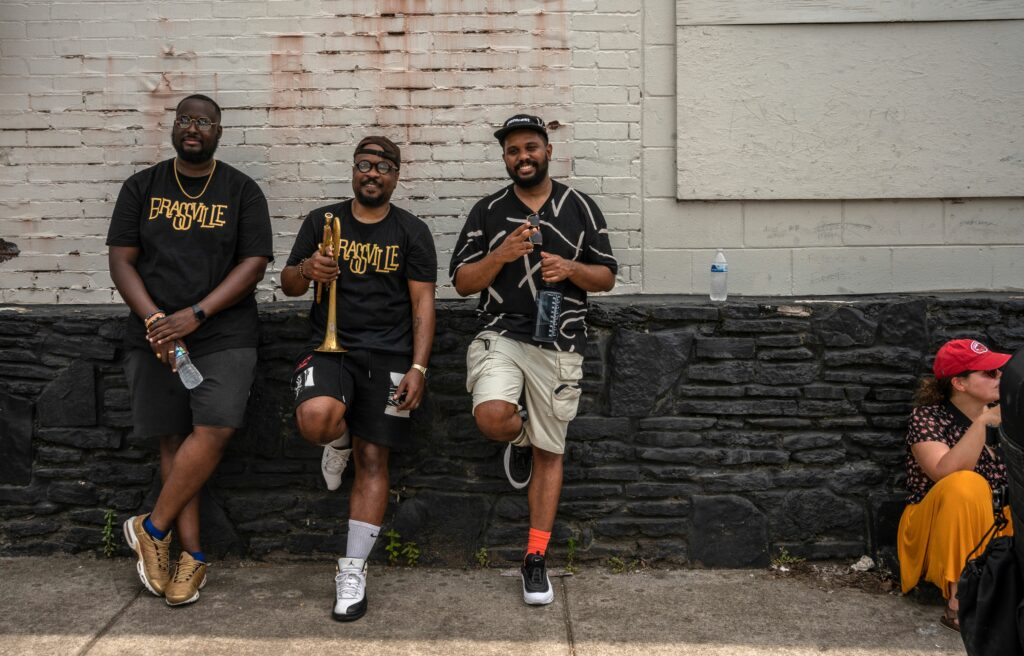 """From left, MarVelous Brown, Larry Jenkins and Marcus Chandler with the band """"Brassville."""" (Photo: John Partipilo)"""