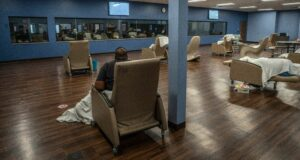 Comfortable chairs are placed in the main waiting area for patients awaiting evaluation. (Photo: John Partipilo)