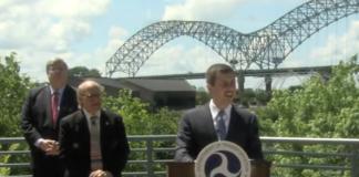 U.S. Secretary of Transportation Pete Buttigieg speaks in Memphis Thursday, with U.S. Rep. Steve Cohen and Memphis Mayor Jim Strickland behind him. (Photo: U.S. Department of Transportation)