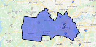 Map of Tennessee's 5th congressional district. (Map: Cooper.house.gov.)