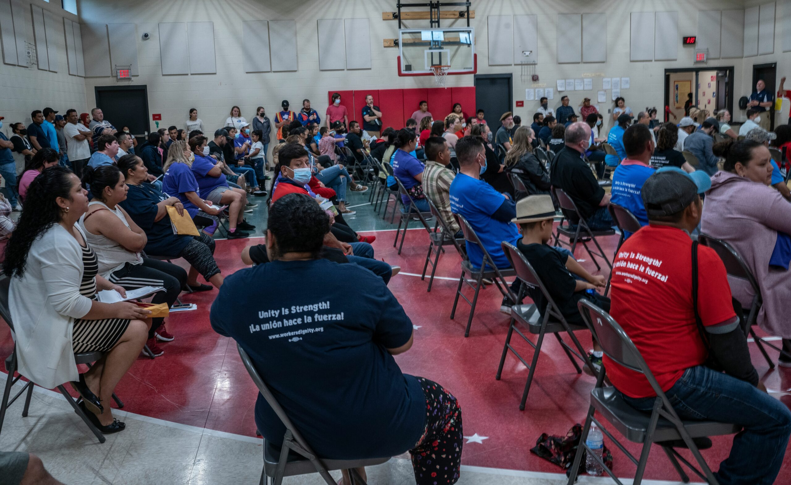 Hundreds of people from the Mosaic apartments showed up to question management about evictions notices on Wednesday. (Photo: John Partipilo)