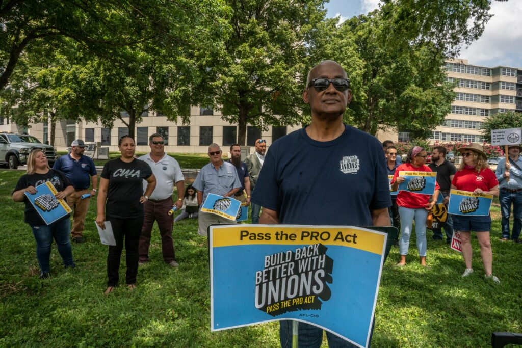 A.J. Starling, secretary/treasurer of the Tennessee AFL/CIO, with a group of union members outside the Nashville offices of U.S. Senators Marsha Blackburn and Bill Hagerty. (Photo: John Partipilo)