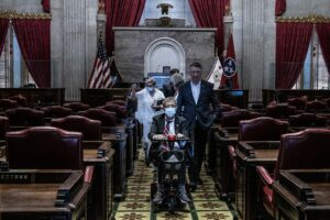 Rep. David Byrd exits the House Chambers with Rep. Dan Howell behind him. (Photo: John Partipilo)