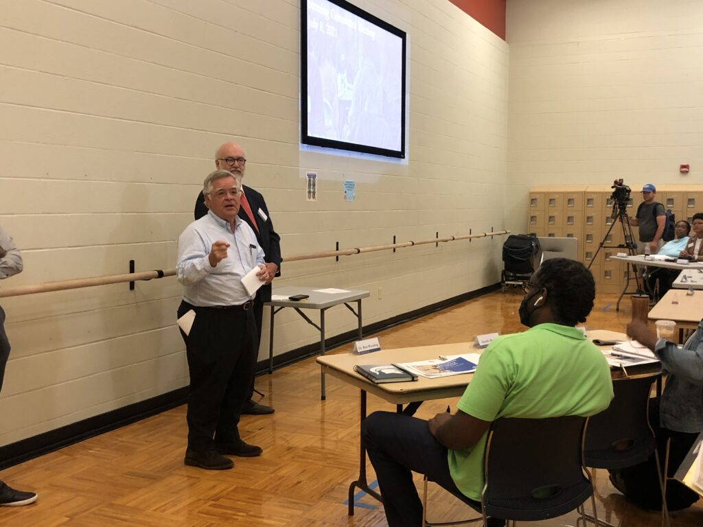 Nashville Mayor John Cooper, front, and advisor Fabian Bedne, speak to a group of people at Hadley Park Community Center about participatory budgeting. (Photo: Ian Round)
