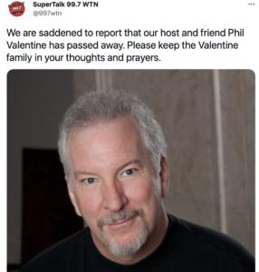 Announcement of Phil Valentine's death.