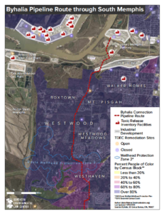 A map of the now-shelved Byhalia Pipeline Route through South Memphis. (Map courtesy of Memphis Against the Pipeline)