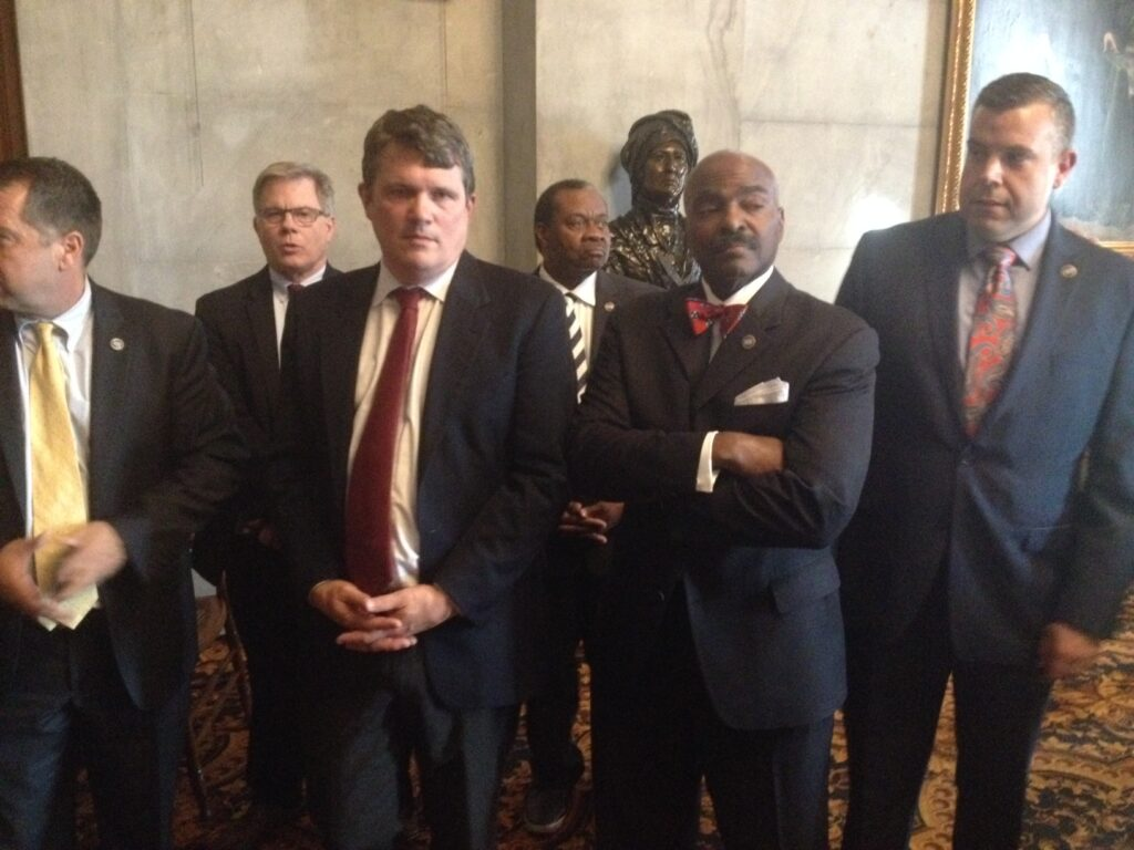 Memphis Democrats could lose a couple of seats in redistricting. Pictured from left in foreground: Rep. Mike Stewart of Nashville, Memphis Rep. G.A. Hardaway and Nashville Rep. Jason Powell. (Photo: File)