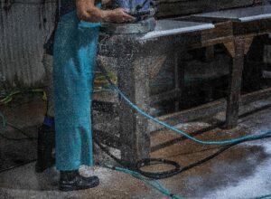 Polishing a soon-to-be countertop at MC Granite in Nashville.(Photo: John Partipilo)