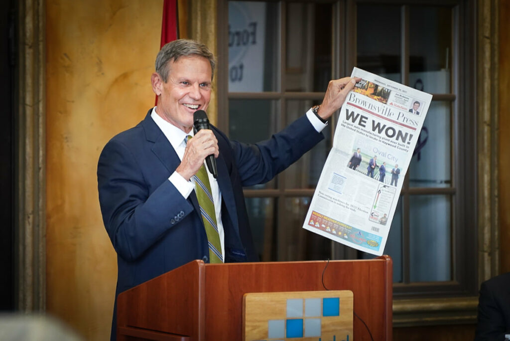 Gov. Bill Lee speaking to the Memphis Regional Megasite Authority on Wednesday. (Photo: Official Facebook page of Gov. Bill Lee)