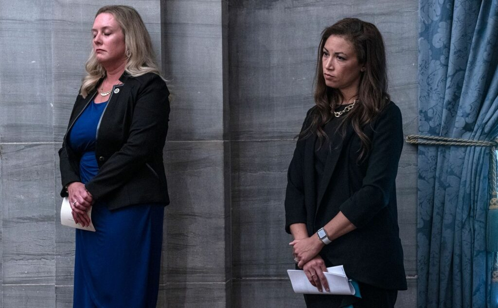"""Department of Education Commissioner Penny Schwinn, pictured at right with Health Commissioner Dr. Lisa Piercey, defends herself against questions about possible """"Schwinnanigans.""""(Photo: John Partipilo)"""