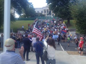 A Thursday rally outside the Tennessee Capitol was staged to urge Lt. Gov. Randy McNally to call a special legislative session. (Staff photo)