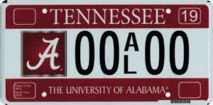 Alabama specialty license plate. (tn.gov)