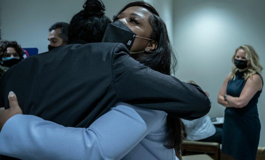 State Sen. Katrina Robinson, D-Memphis, hugs Nashville activist Justin Jones at the Tennessee General Assembly in April. (Photo: John Partipilo)