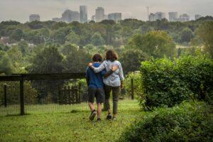 The Stephensons walk near their Nashville home. (Photo: John Partipilo)
