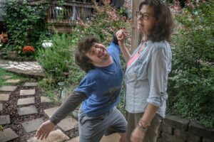Joey Doherty clowns around with his mother, Tommi. (Photo: John Partipilo)