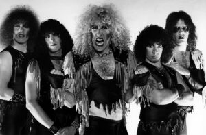Dee Snider and Twisted Sister, L - R Mark Mendoza, Eddie Ojeda, Dee Snider, AJ Pero and JJ French.  (Photo by Fin Costello/Redferns/Getty Images)