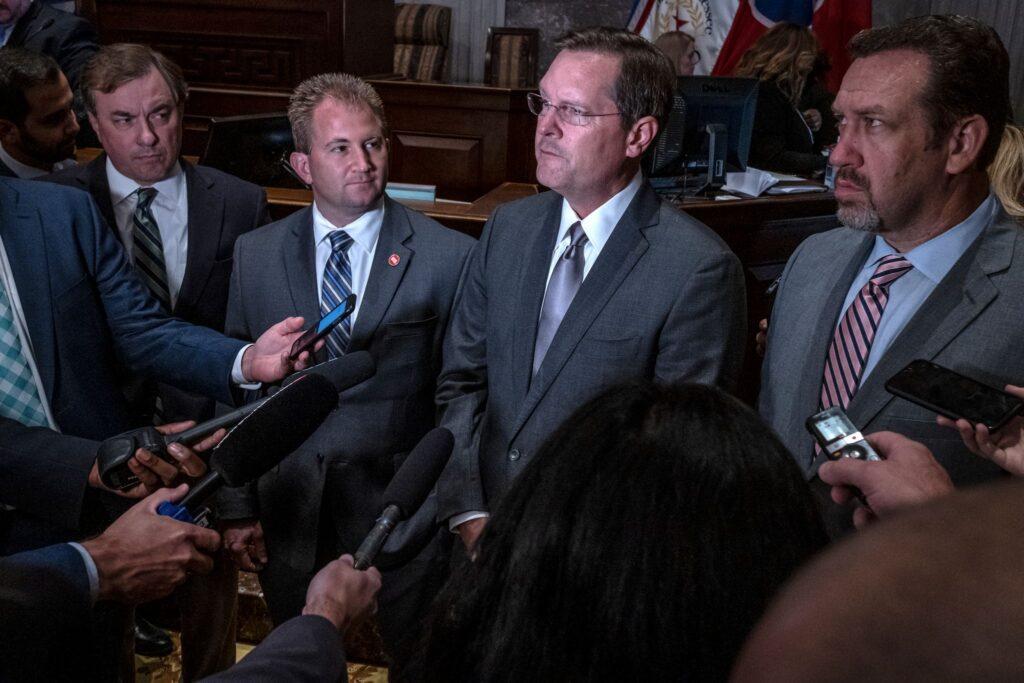 from left: Rep.Ron Gant, assistant majority leader; Rep. William Lamberth, majority leader; Rep. Cameron Sexton, speaker of the House; Rep. Jeremy Faison, Republican House Caucus Leader. (Photo: John Partipilo)